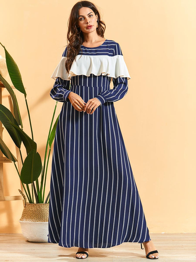 Nageenah Plus Size Blue Stripe  Frill Long Sleeve Abaya - Plus Size Hijab Muslim Fashion Abaya Jubah Dresses Singapore Malaysia Brunei Online