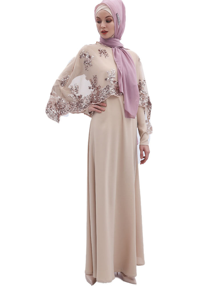 Muzaynah Plus Size Wedding / Formal Abaya With Sequin Cape (Gold, Silver, Black) - Plus Size Hijab Muslim Fashion Abaya Jubah Dresses Singapore Malaysia Brunei Online