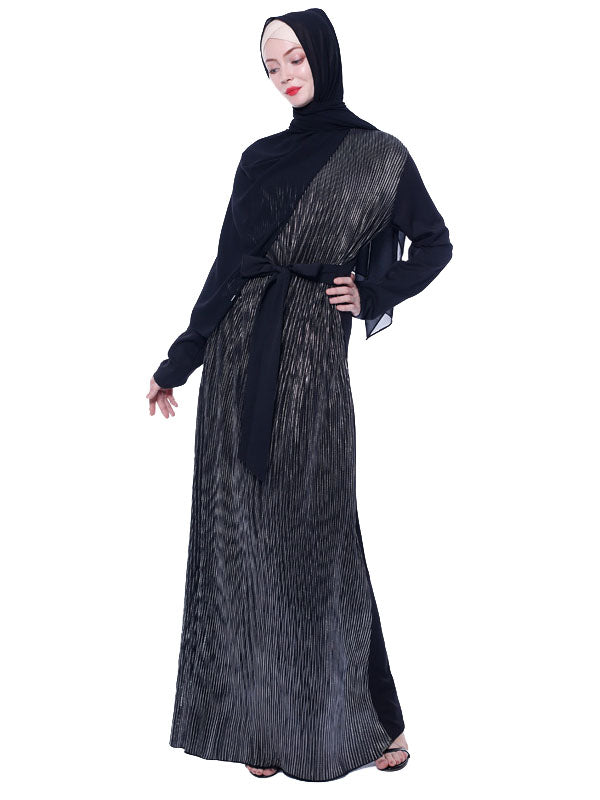 Muznah Plus Size Formal Abaya Metallic Pleats Long Sleeve Maxi Dress - Plus Size Hijab Muslim Fashion Abaya Jubah Dresses Singapore Malaysia Brunei Online
