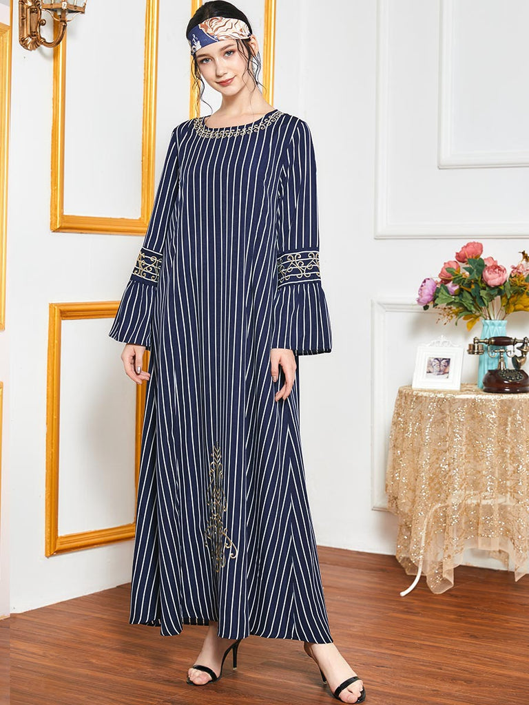 Nimra Plus Size Blue Stripes Gold Embroidery Abaya