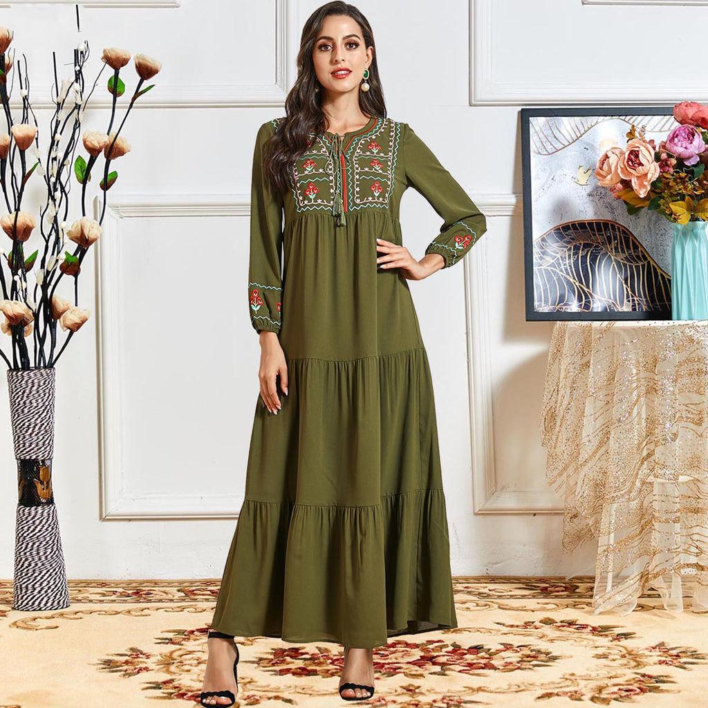 Raghibah Plus Size Green Embroidery Abaya