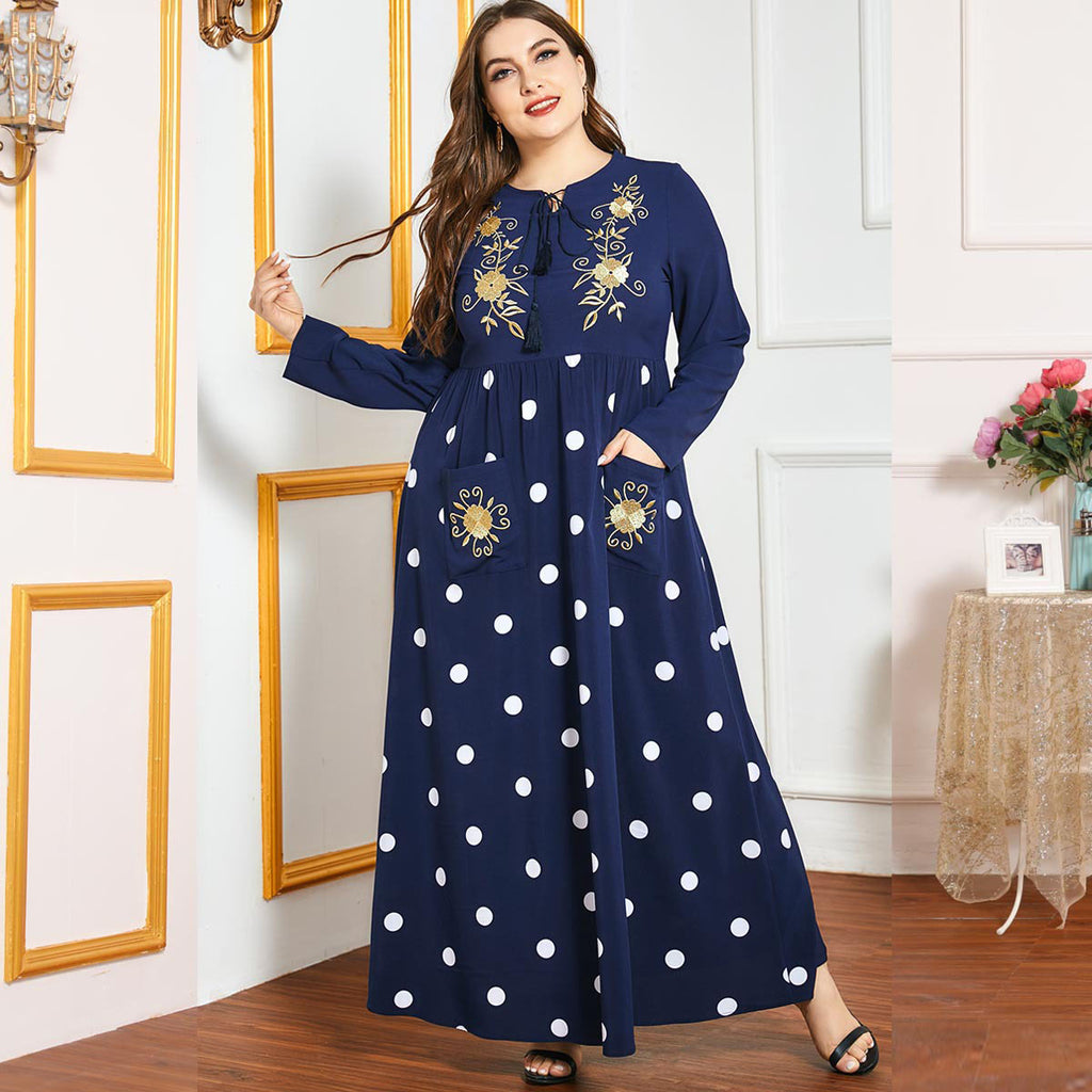 Nura Plus Size Polka Dots Blue Embroidery Abaya