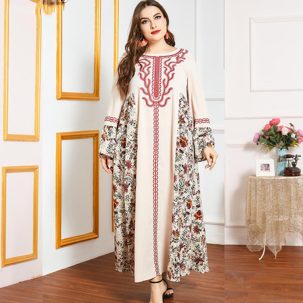 Nooriya Plus Size Floral Printed Embroidery Abaya Muslimah Dress