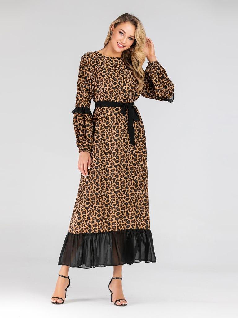 Hanin Leopard Print Black Contrast Mermaid Hem L/S Maxi Dress - Plus Size Hijab Muslim Fashion Abaya Jubah Dresses Singapore Malaysia Brunei Online