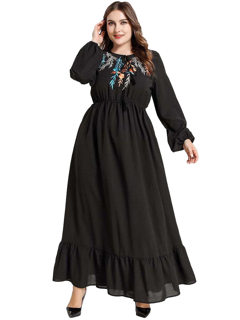 Liba Plus Size Black Leafs Embroidery Tassel Tie Balloon Sleeves Long Sleeve Maxi Dress Abaya Jubah - Plus Size Hijab Muslim Fashion Abaya Jubah Dresses Singapore Malaysia Brunei Online