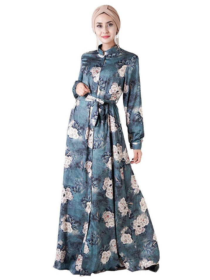muslimah oriental flowers print satin maxi shirt dress