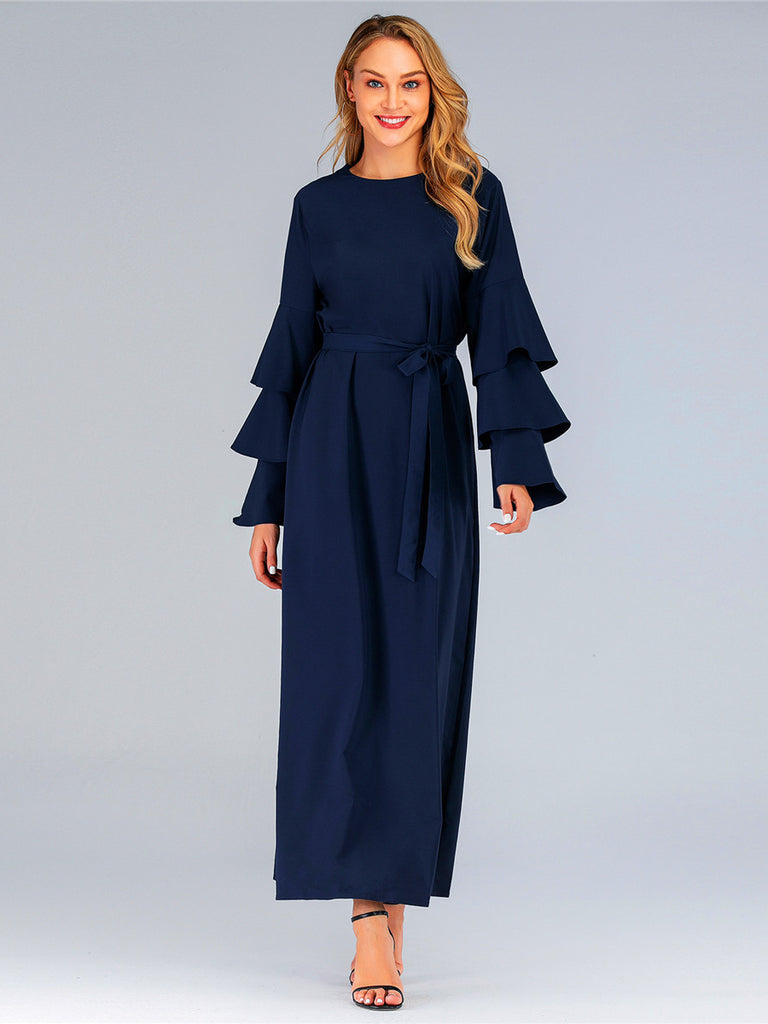 Hanifa Tier Bell Sleeve L/S Maxi Dress (Blue, Red) - Plus Size Hijab Muslim Fashion Abaya Jubah Dresses Singapore Malaysia Brunei Online