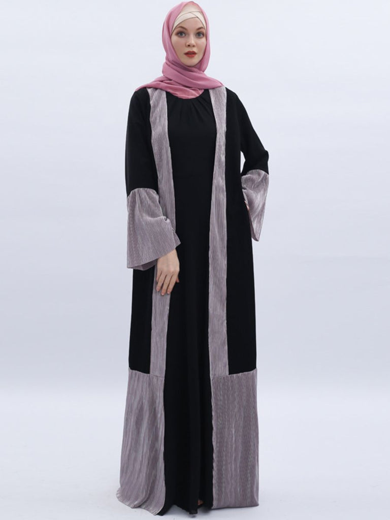 Nasira Plus Size Metallic Pleated Bell Sleeve Muslimah  Kimono Jacket (Grey, Brown,  Black With Brown Sleeves,  Black With Black Sleeves)
