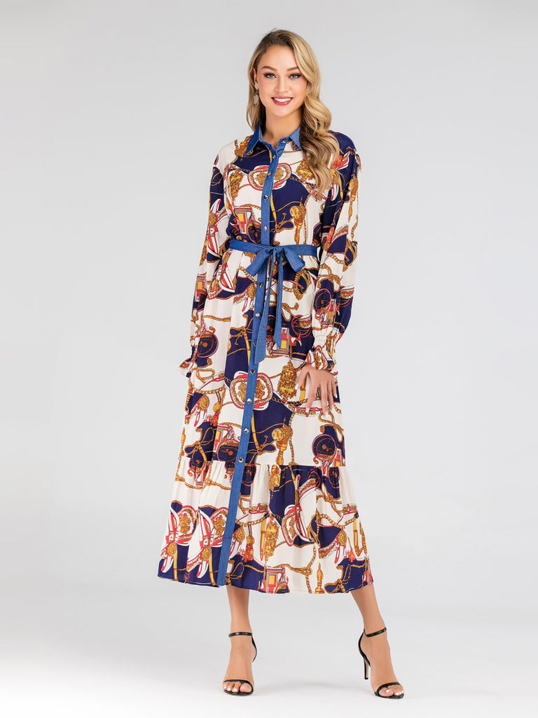 Haniah Scarf Print Contrast Collar L/S Maxi Shirt Dress (Blue, Black) - Plus Size Hijab Muslim Fashion Abaya Jubah Dresses Singapore Malaysia Brunei Online