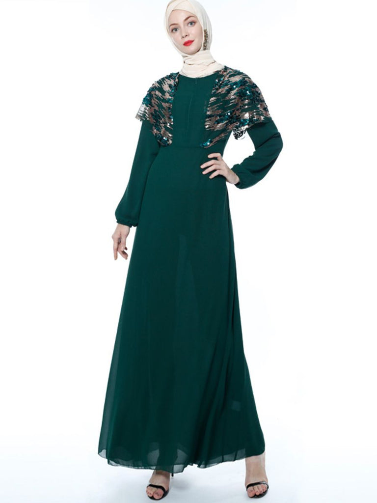 Nasirah Plus Size Dressy Abaya  With Sequins Cape And Zipper
