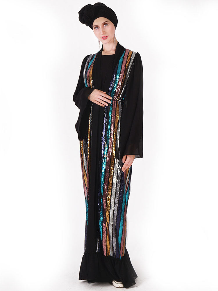 Nimah Plus Size Colourful Sequins Open Kimono Jacket