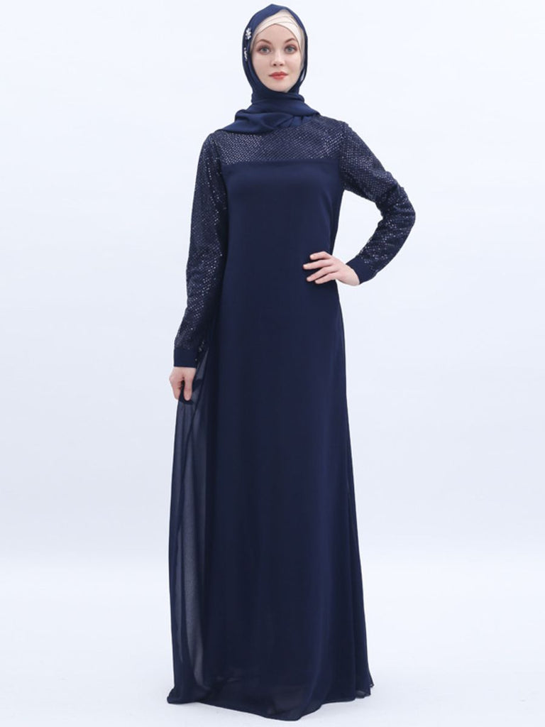 Nasra Plus Size Modern Occasion Abaya With Sequins  (Suitable For Hari Raya)  (Beige, Blue)