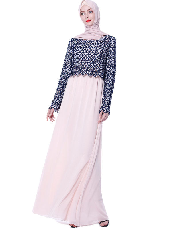 Na'imah Plus Size Formal Muslimah Abaya Lace Long Sleeve Maxi Dress (Beige, Blue) - Plus Size Hijab Muslim Fashion Abaya Jubah Dresses Singapore Malaysia Brunei Online
