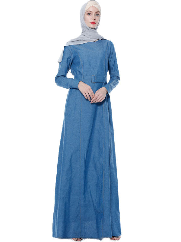 Naa'irah Plus Size Modern Abaya Denim Belted Long Sleeve Maxi Dress - Plus Size Hijab Muslim Fashion Abaya Jubah Dresses Singapore Malaysia Brunei Online