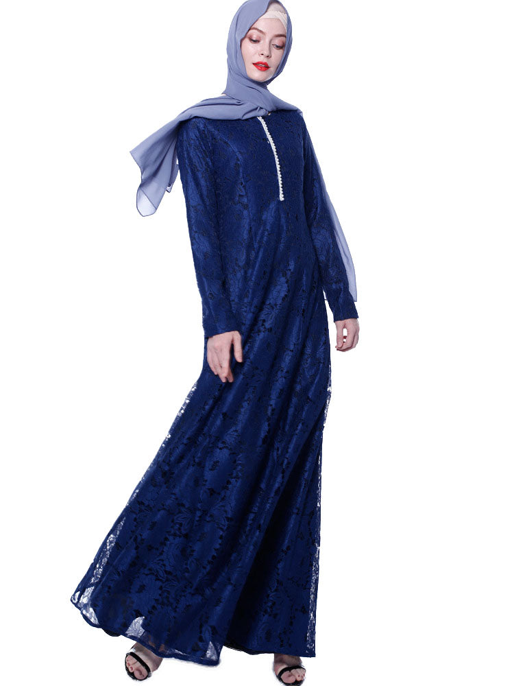 Naailah Plus Size Wedding / Occasion Abaya Pearls And Lace Long Sleeve Maxi Dress (Blue, Beige, Black) - Plus Size Hijab Muslim Fashion Abaya Jubah Dresses Singapore Malaysia Brunei Online