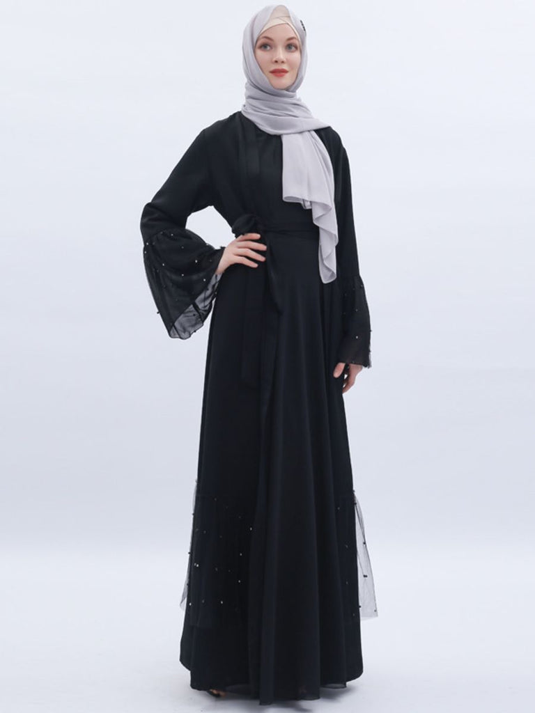Nasrullah Plus Size Open Kimono Jacket Muslimah With Tulle And Pearls