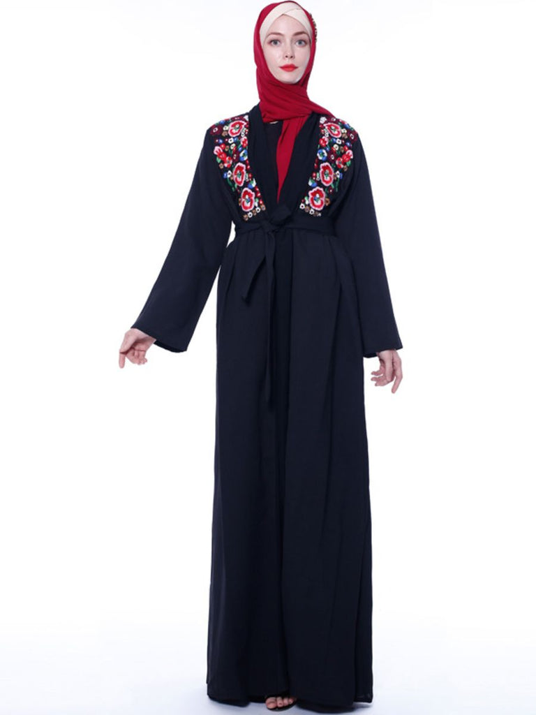 Natasha Plus Size Black  Muslimah Open Kimono Jacket  With Floral Embroidery