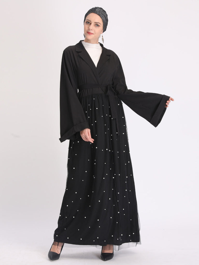 Nazia Plus Size Muslimah Open Kimono  Jacket With Pearls And Tulle