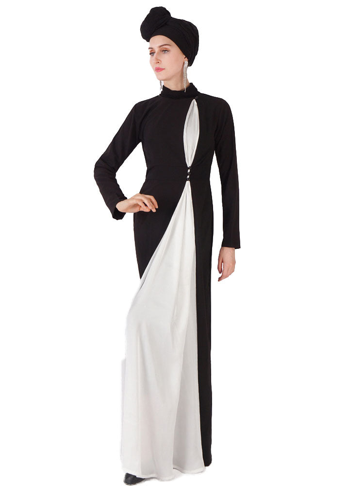 Munazzah Plus Size Turtleneck Black And White Long Sleeve Abaya Jubah - Plus Size Hijab Muslim Fashion Abaya Jubah Dresses Singapore Malaysia Brunei Online