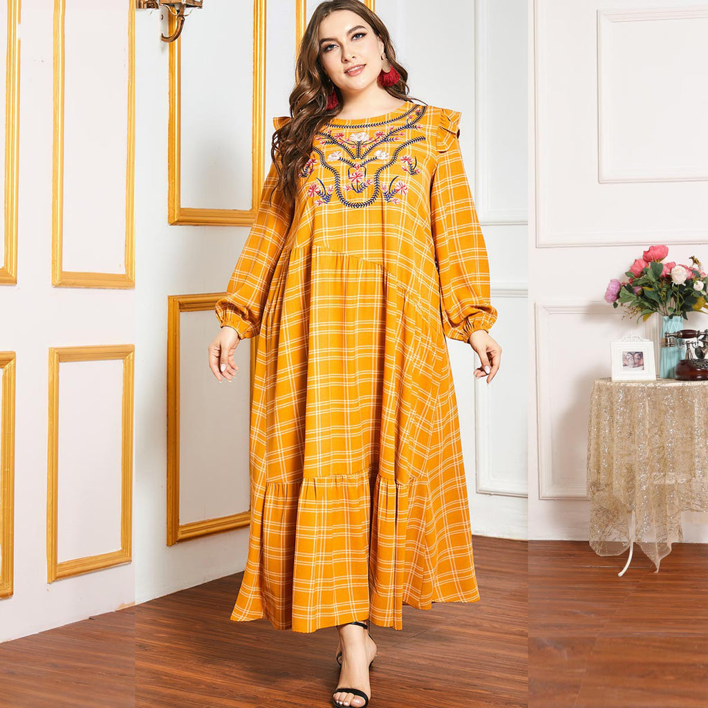 Noorjahan Plus Size Embroidery Checked Bohemian Abaya Muslimah Dress