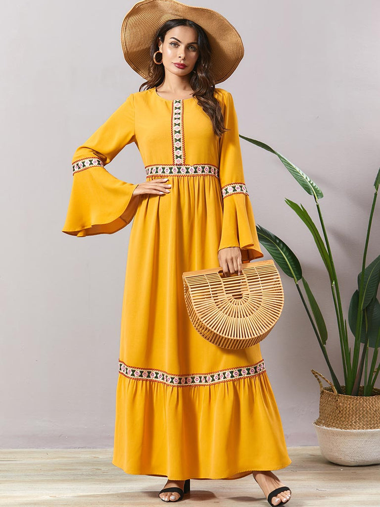 Najaf Plus Size Yellow Floral  Embroidery Bell Sleeve Long  Sleeve Maxi Dress Abaya - Plus Size Hijab Muslim Fashion Abaya Jubah Dresses Singapore Malaysia Brunei Online