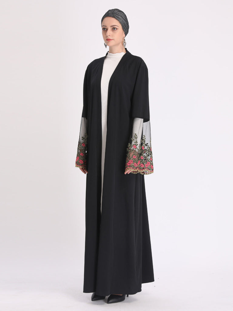 Nazimah Plus Size Black Muslimah Open  Kimono Jacket With Floral Lace