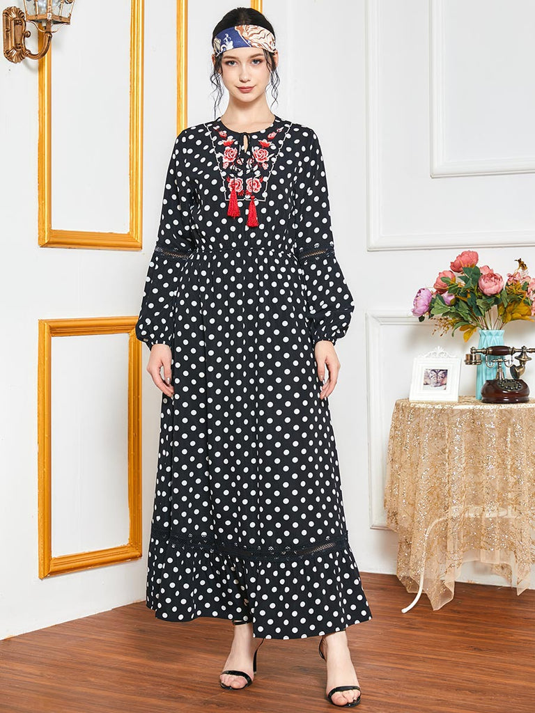 Nisa Plus Size Black Polka Dots Floral Embroidery Abaya
