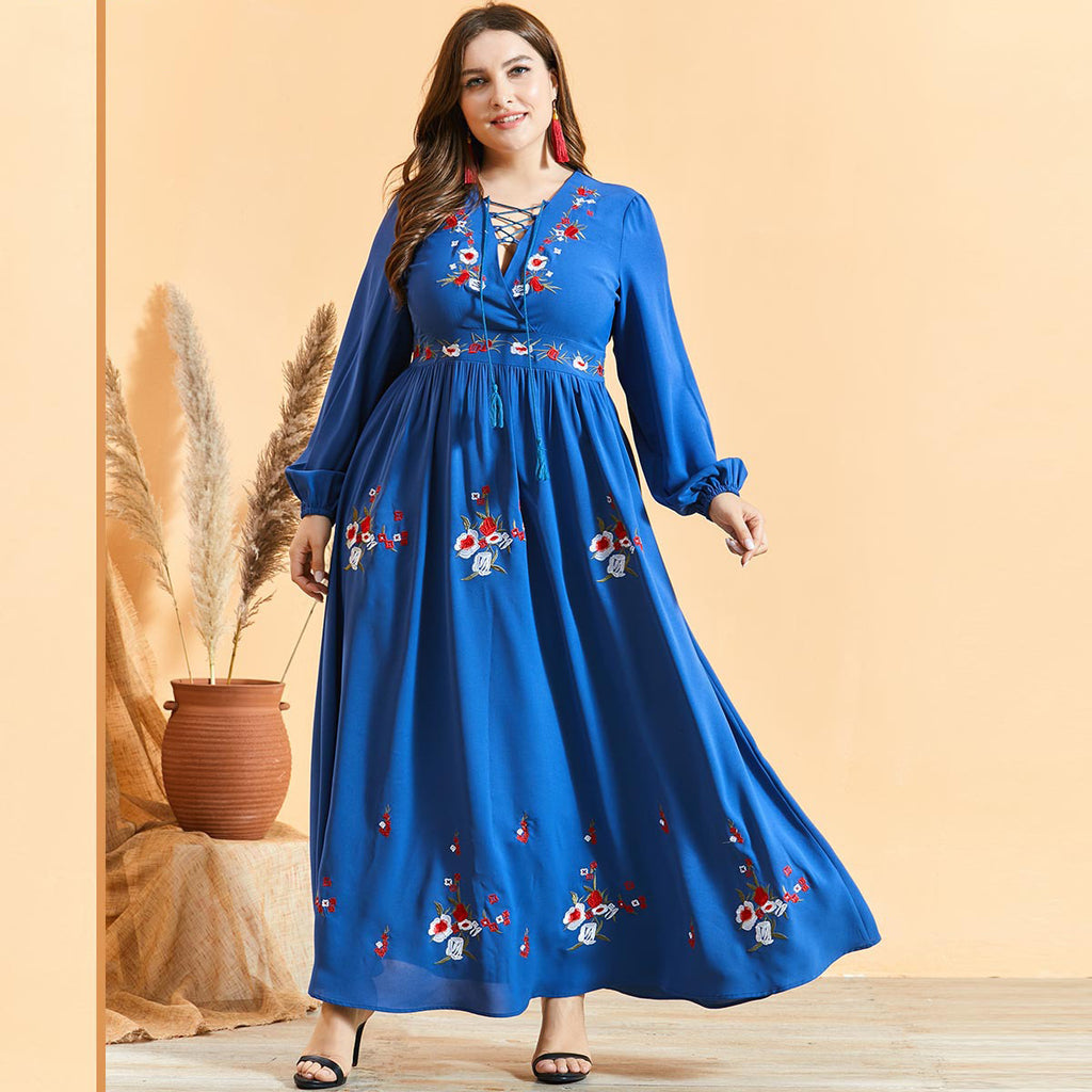 Norah Plus Size Blue Floral Embroidery Bohemian Abaya Muslimah Dress