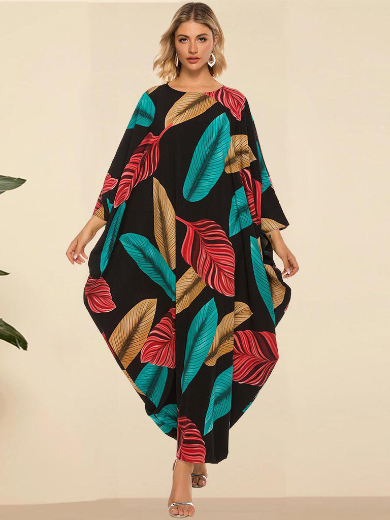 Naushin Plus Size Batwing Abaya Leafs Print Long Sleeve Maxi Dress (Black)