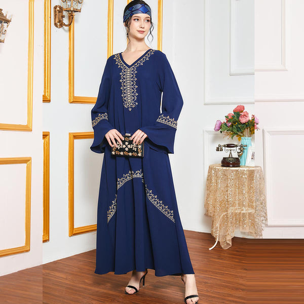Qiyyama Plus Size Gold Embroidered Blue Abaya
