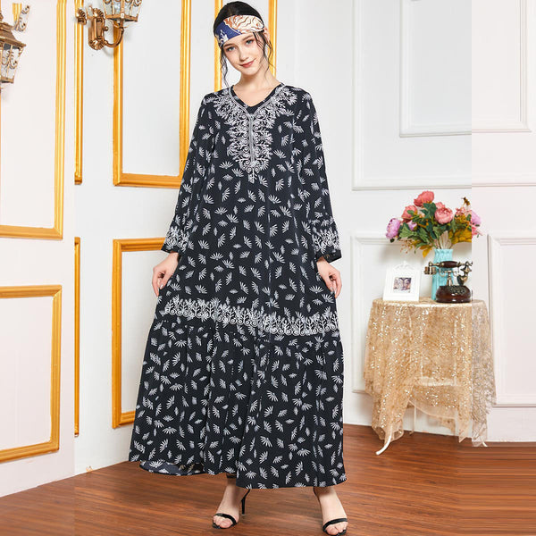 Quadriyyah Plus Size Black Ethnic Embroidery Abaya