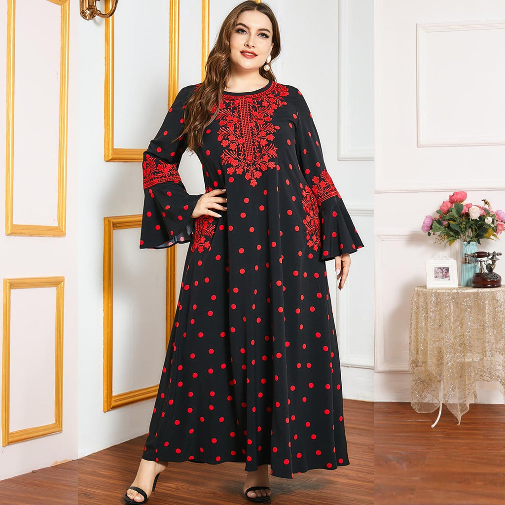 Qabilah Plus Size Red Polka Dots Embroidery Abaya