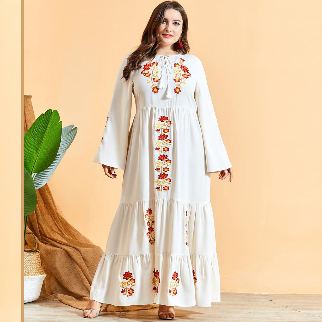 Noriza Plus Size White Floral Embroidery Abaya Muslimah Dress