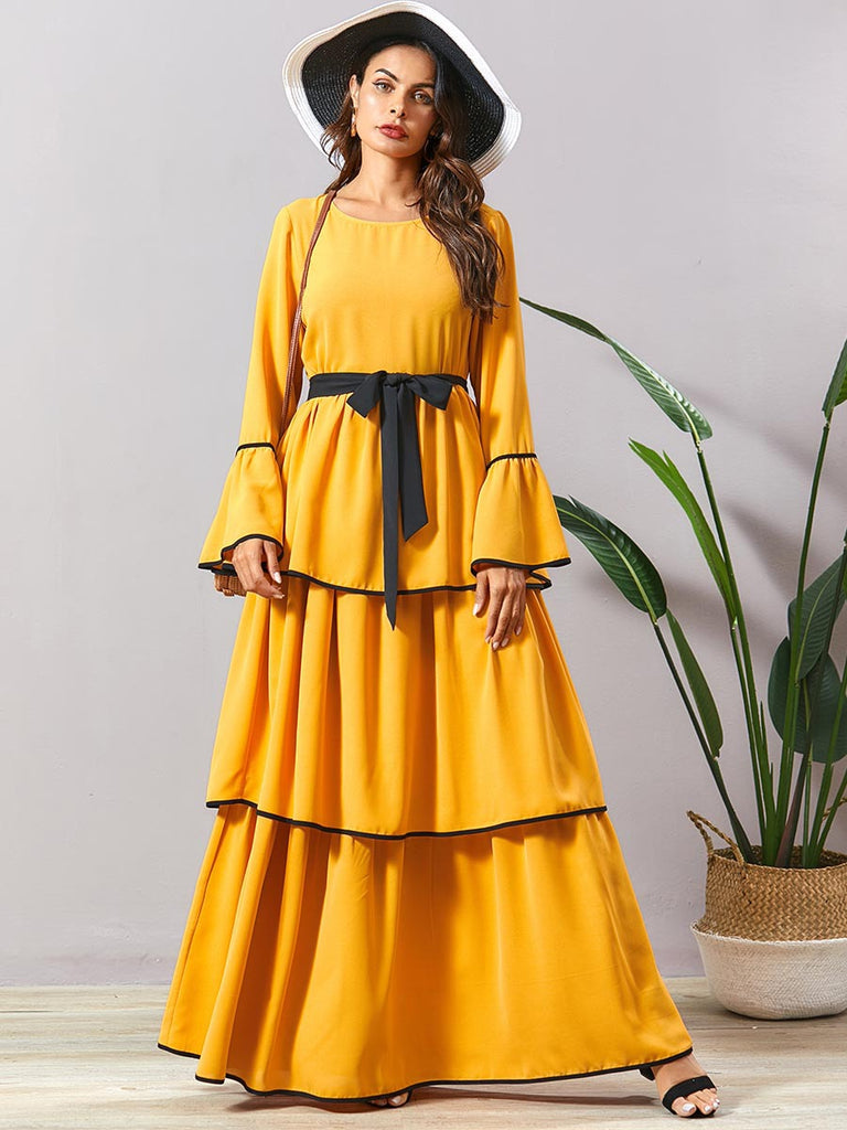 Nabila Plus Size Abaya Jubah  Yellow Tier Bell Sleeve Long  Sleeve Maxi Dress - Plus Size Hijab Muslim Fashion Abaya Jubah Dresses Singapore Malaysia Brunei Online