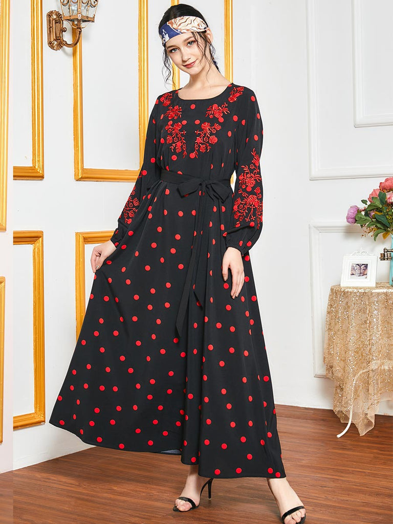 Nissa Plus Size Red Embroidery Polka Dots Jubah