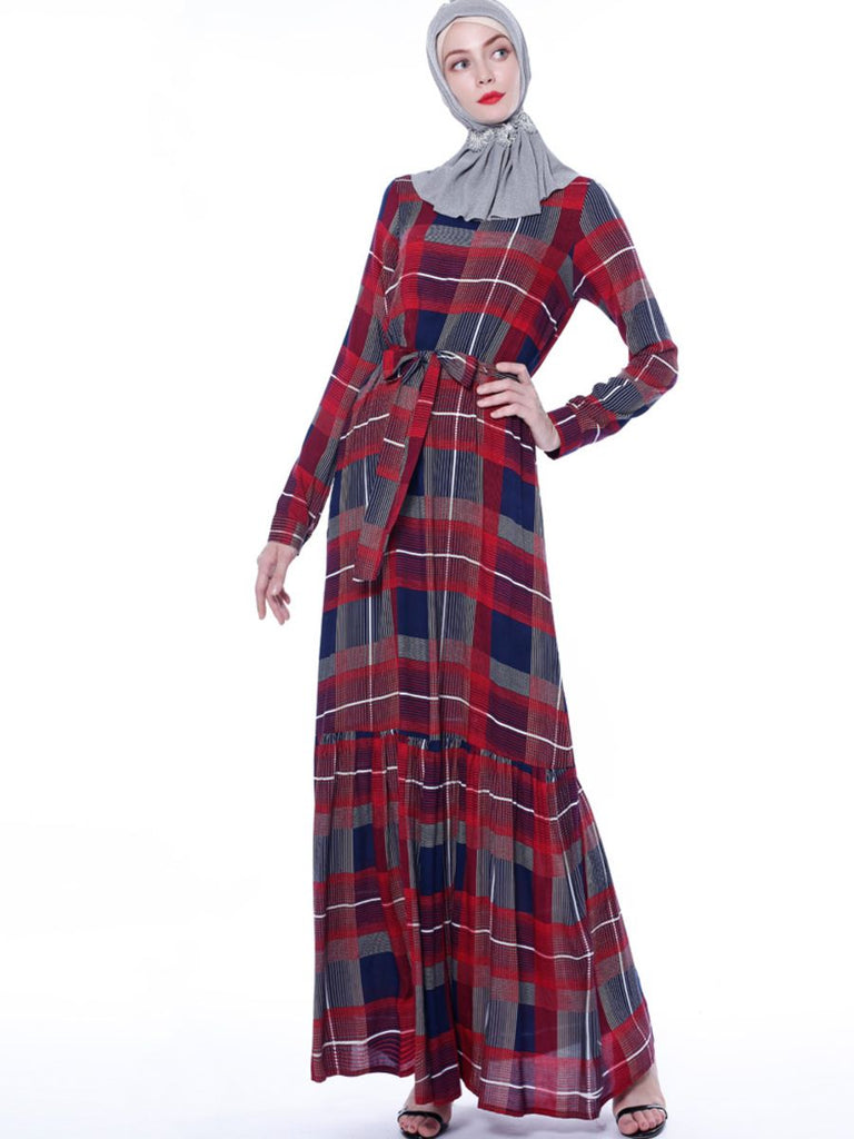 Nakhat Plus Size Abaya In Checked Print (Red, Brown)