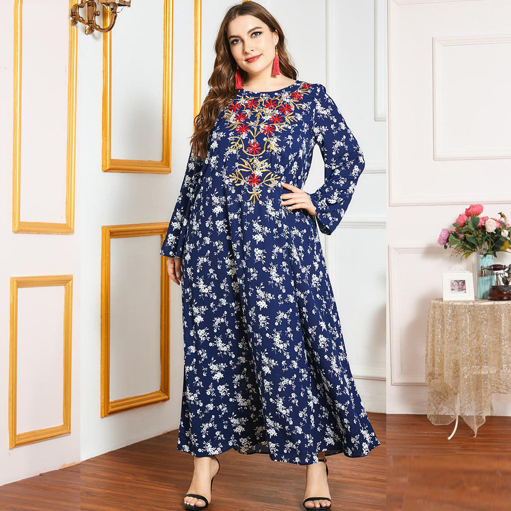 Qabool Plus Size Blue Floral Embroidery Muslimah Dress