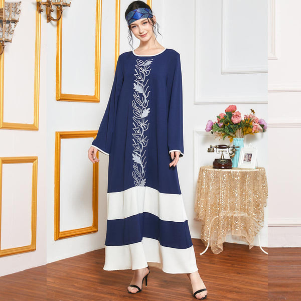 Qudsiyah Plus Size Blue Stripes Embroidered Abaya