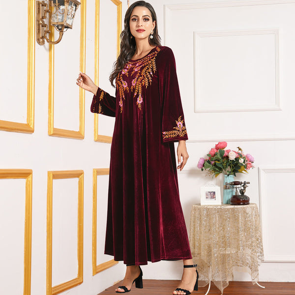 Nusaybah Plus Size Red Velvet Occassion Abaya