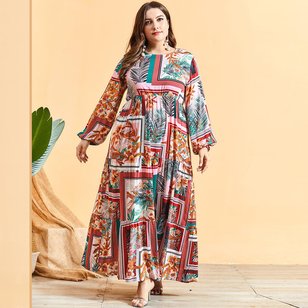 Noshaba Plus Size Tropical Print Abaya Muslimah Dress