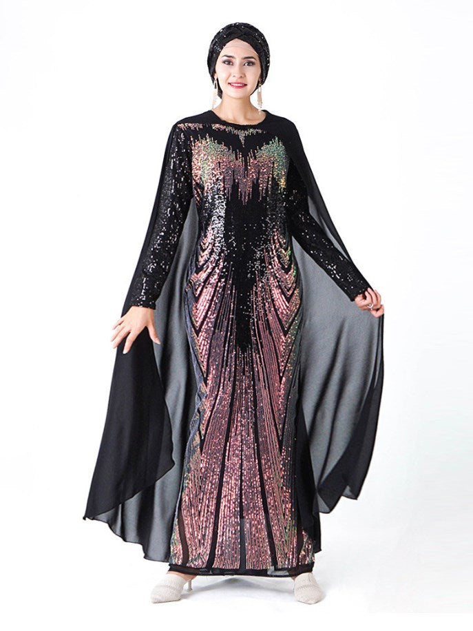 Plus Size Sequins Cape Muslim Evening Abaya