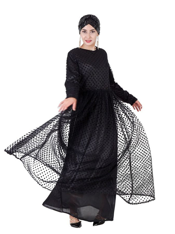 Plus Size Polka Dots Tulle Muslim Evening Abaya and Matching Girl Kids Dress