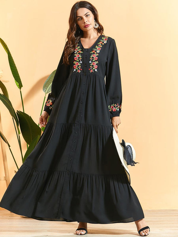 Taaqul Black Embroidered Abaya