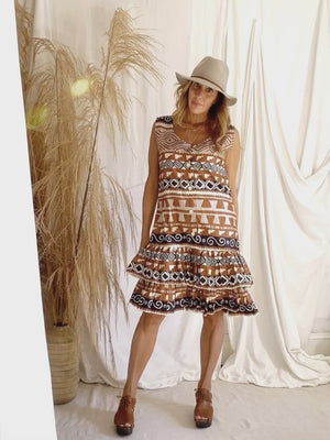 Vintage Southwestern Ruffle Dress