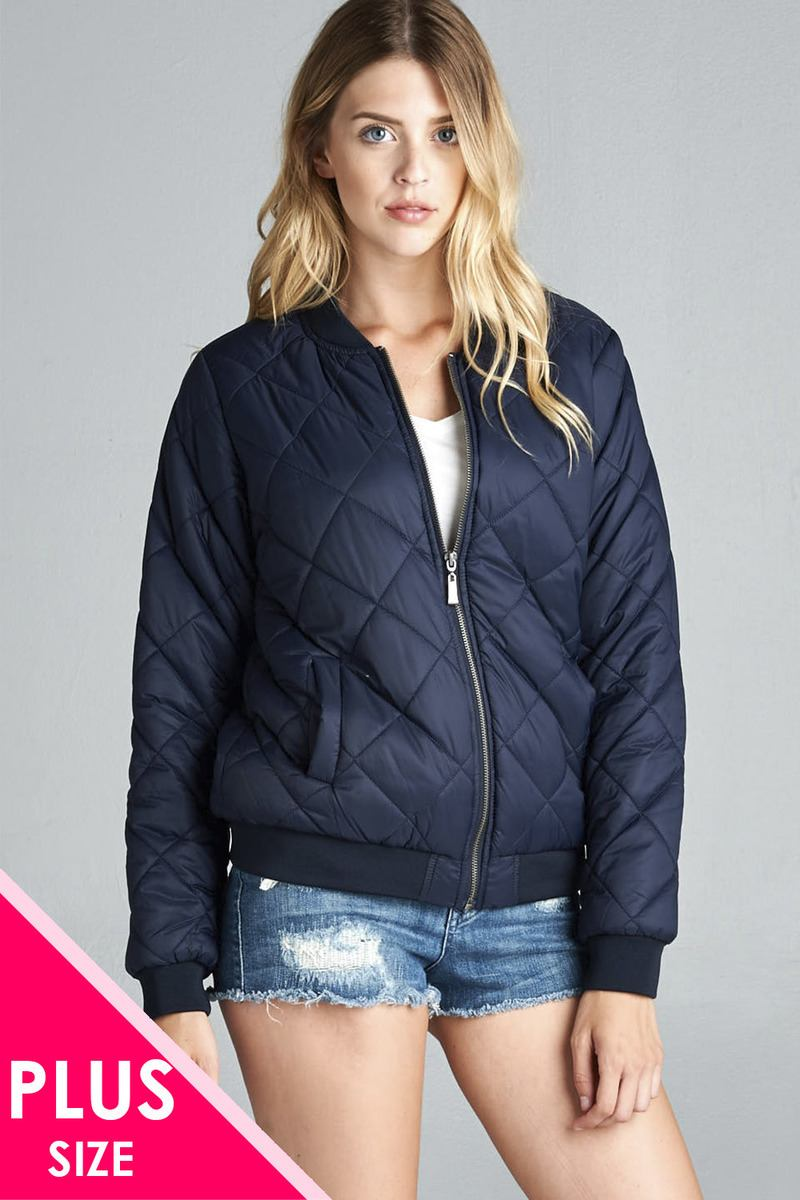 Ladies fashion plus size quilted padding bomber jacket
