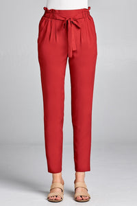 Ladies fashion self ribbon detail long leg woven pants