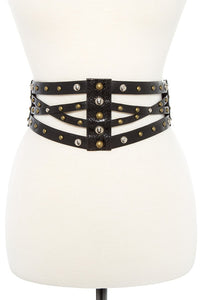 Cut out crossed faux leather stretch belt