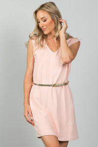 Ladies fashion gold rope neckline applique pink faux suede belted mini dress