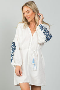 Ladies fashion embroidered sleeves boho dress