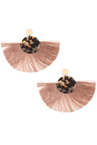 Acetate disk fan out fringe earring